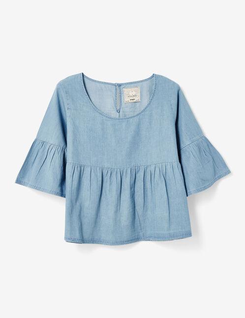 Light blue flared blouse