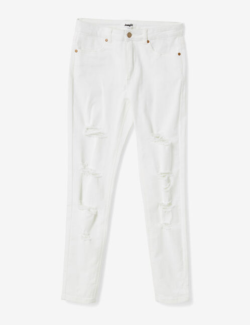 pantalon skinny destroy écru