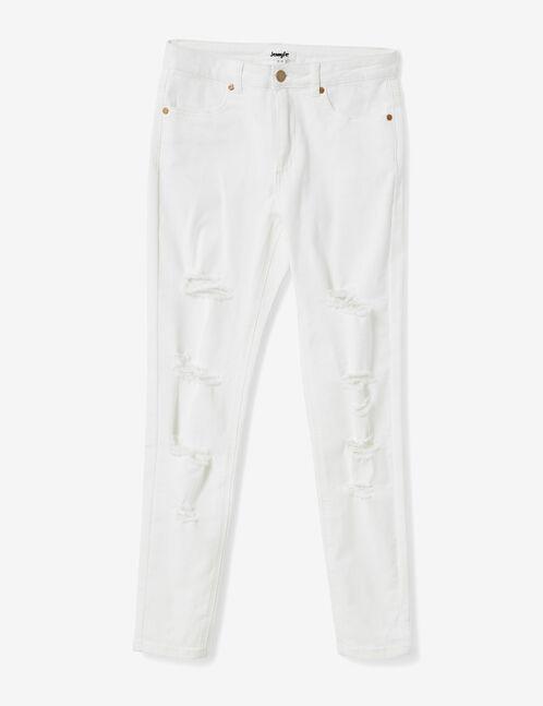 Cream distressed skinny trousers