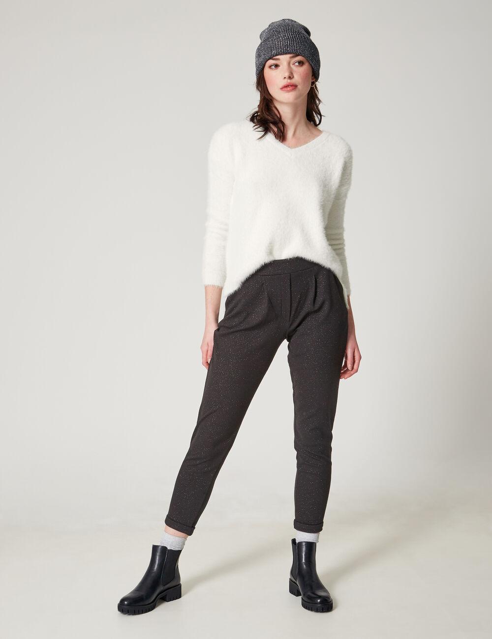 pantalon en cr pe paillet noir femme jennyfer. Black Bedroom Furniture Sets. Home Design Ideas