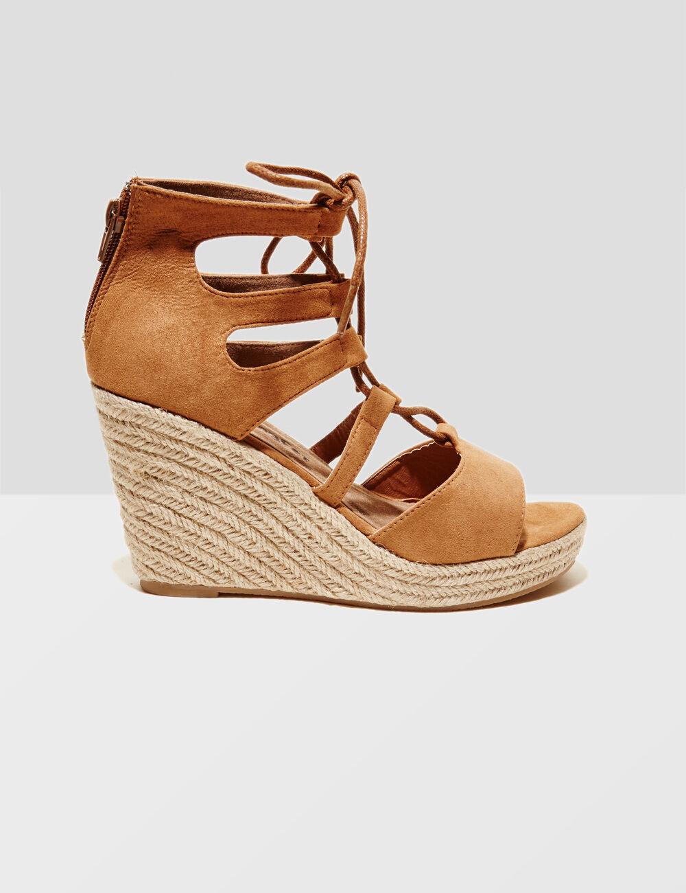 sandales compens es camel femme jennyfer. Black Bedroom Furniture Sets. Home Design Ideas