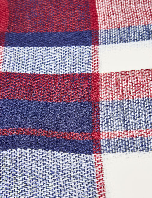 Burgundy, navy blue and cream checked scarf
