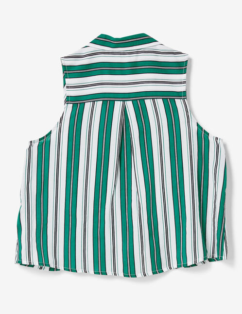 Cream, green and black striped blouse