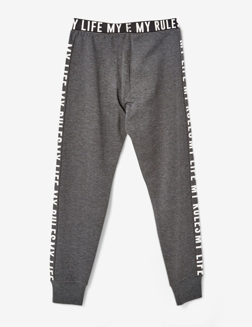 """Charcoal grey marl """"my life my rules"""" joggers"""