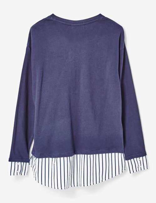 tee-shirt bi-matière bleu marine