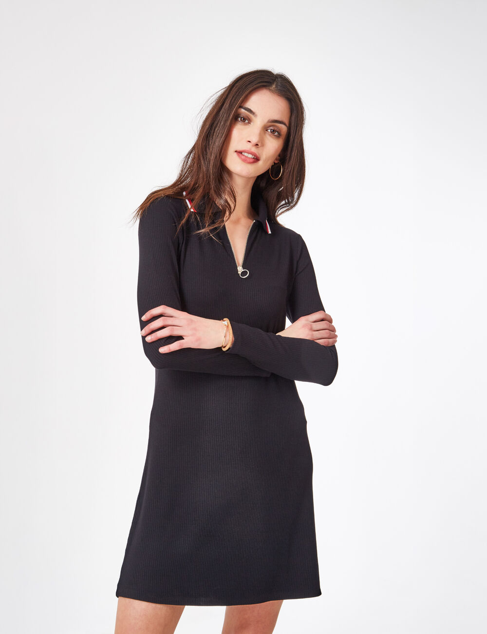 robe style polo noire femme jennyfer. Black Bedroom Furniture Sets. Home Design Ideas