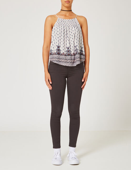 Charcoal grey skinny push-up trousers