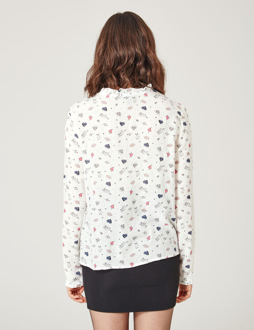 Cream mixed print blouse
