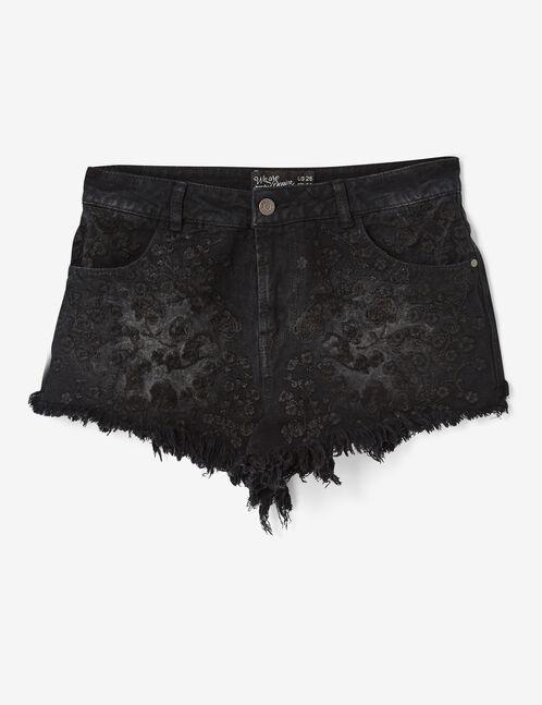 short en jean avec broderies noir