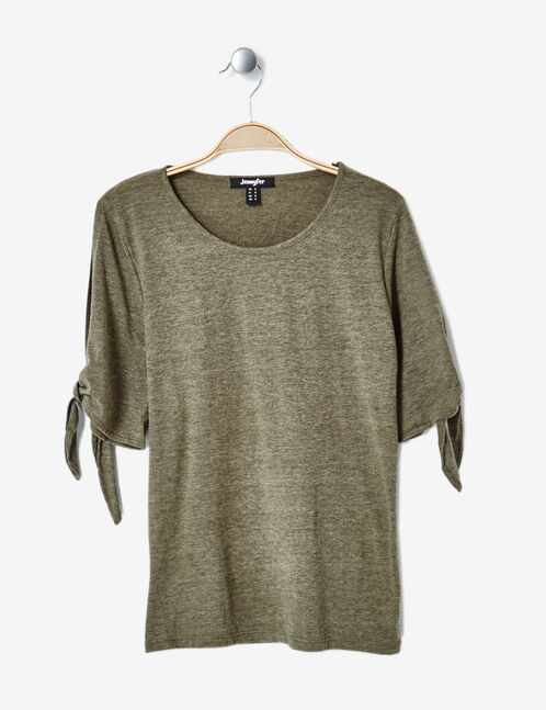Khaki marl T-shirt with tie-fastening sleeves