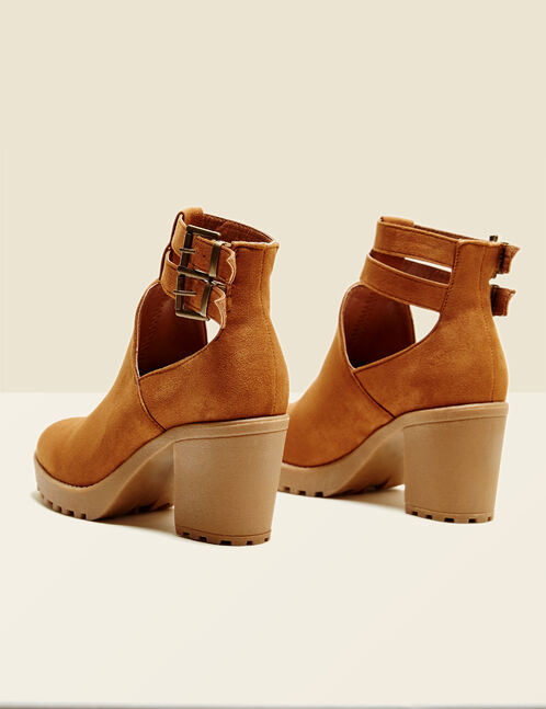 Camel cut-out ankle boots with straps