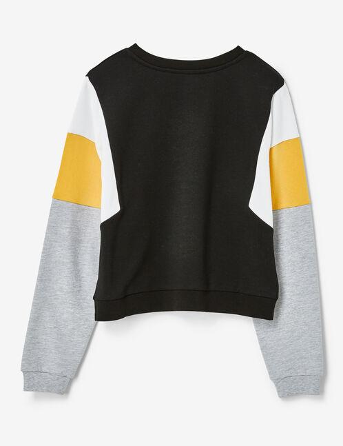 Black, white, ochre and grey marl sweatshirt with panel detail