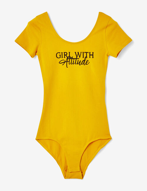 Ochre bodysuit with text design detail