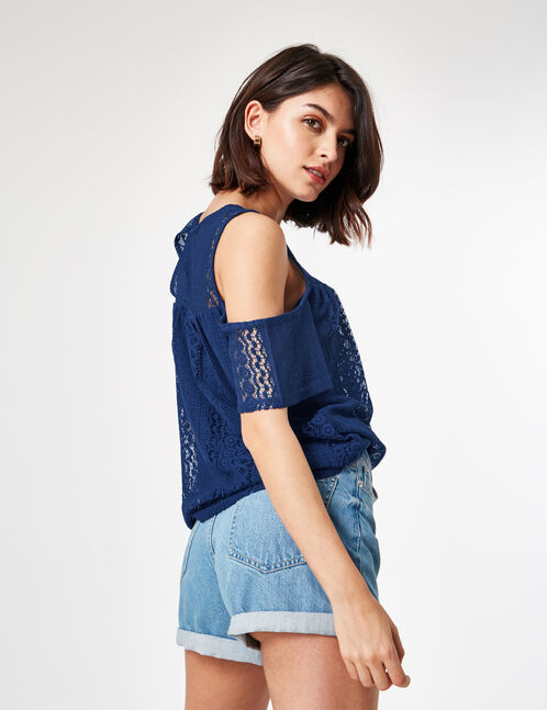 Navy blue lace T-shirt