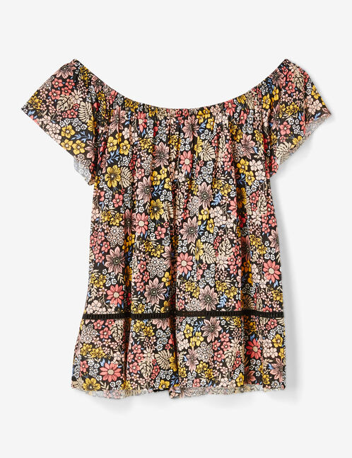 tee-shirt imprimé fleuri noir