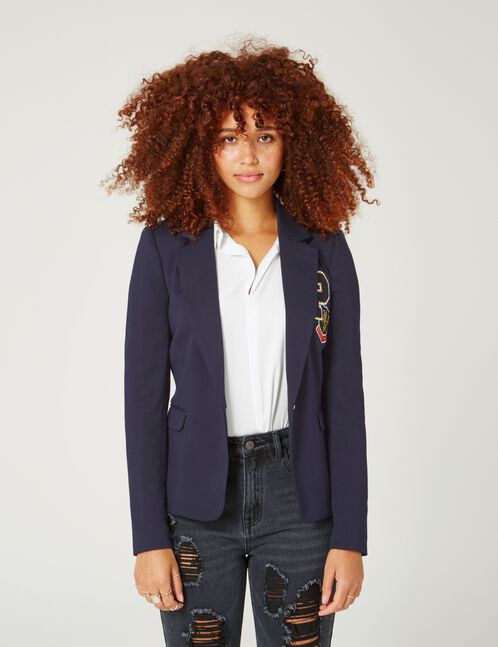Navy blue blazer with patch detail