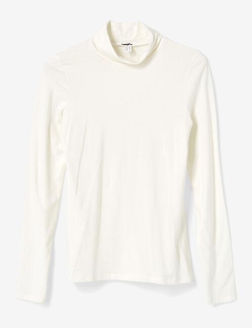 tee-shirt  basic col roulé écru
