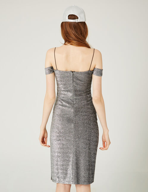 Silver fitted lurex dress