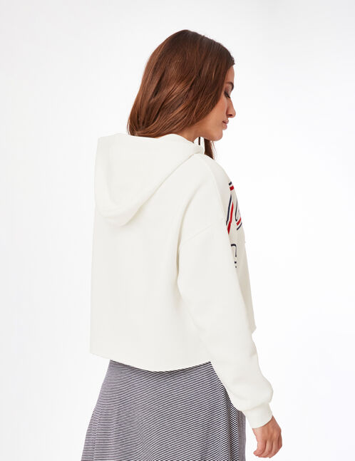 Cream cropped hoodie with text design detail