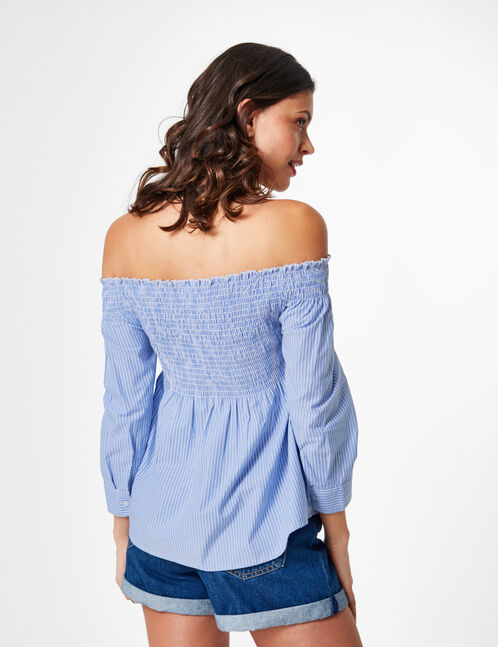 Light blue and white striped off-the-shoulder blouse