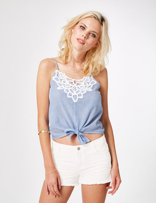 Light blue and cream striped camisole with lace detail