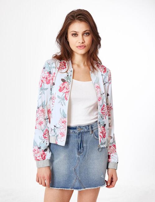 Cream floral satin bomber jacket