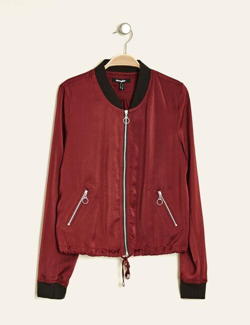 Burgundy loose-fit bomber jacket