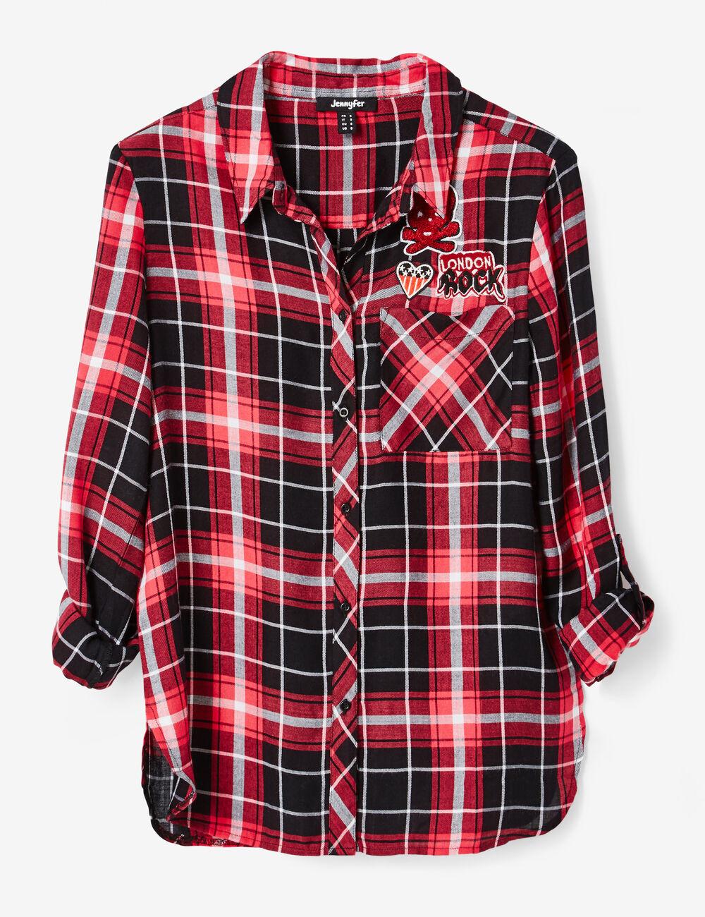 chemise carreaux noire et rouge femme jennyfer. Black Bedroom Furniture Sets. Home Design Ideas
