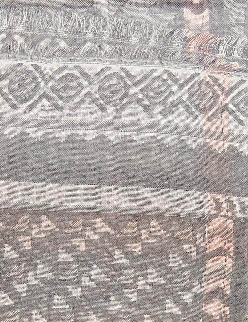 écharpe motif aztèque gris chiné beige et rose clair
