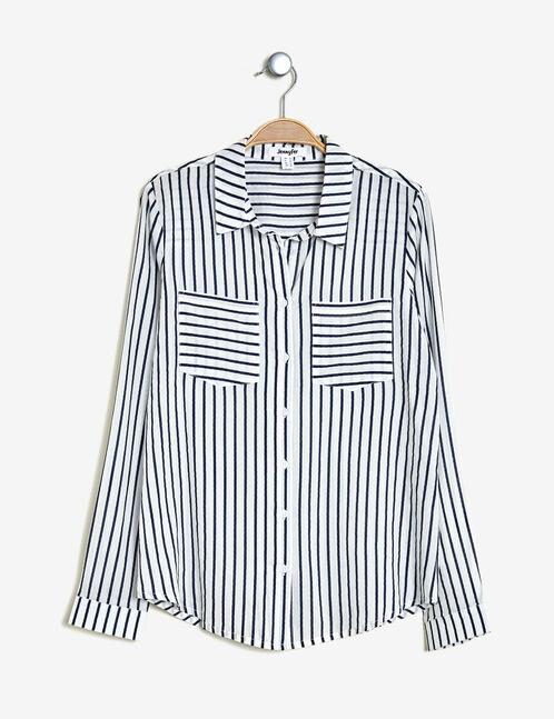 Cream and navy blue striped shirt