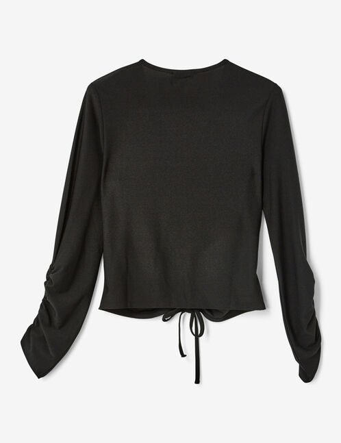 Black T-shirt with gathered detail
