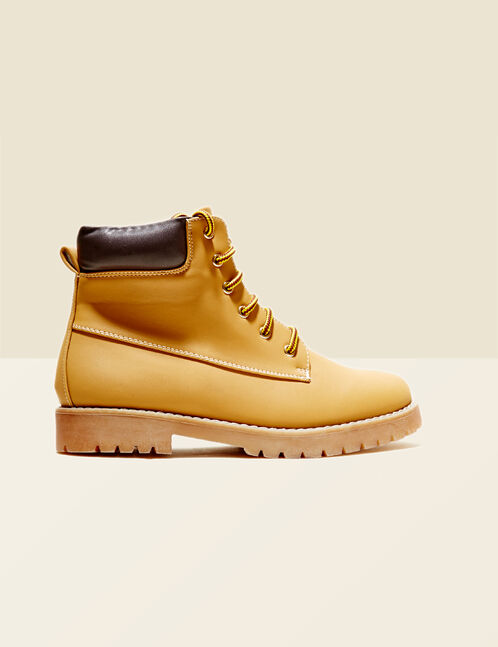 Ochre two-tone lace combat boots