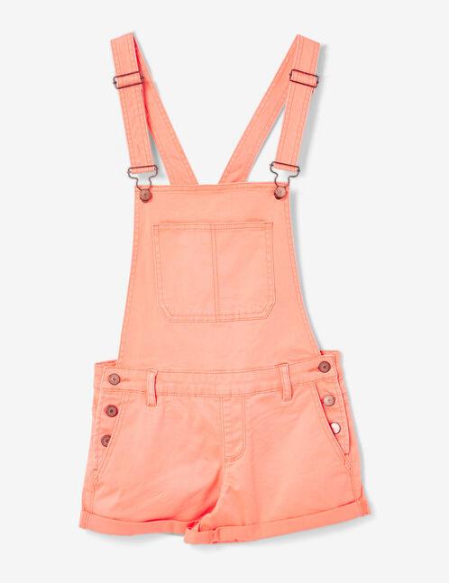 Coral dungaree shorts