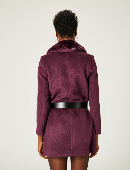 Purple coat with faux fur collar