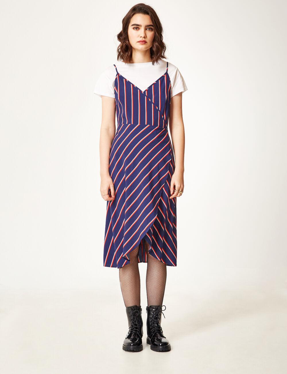 robe portefeuille ray e bleu marine rouge et blanche femme jennyfer. Black Bedroom Furniture Sets. Home Design Ideas
