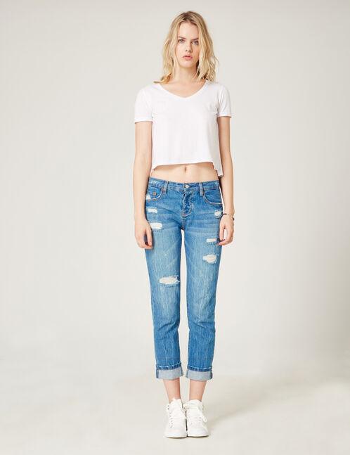 Medium blue distressed straight-leg jeans