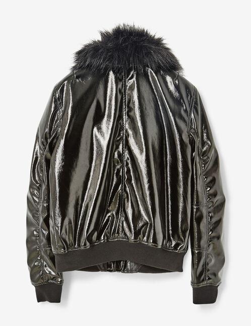 Black vinyl bomber jacket