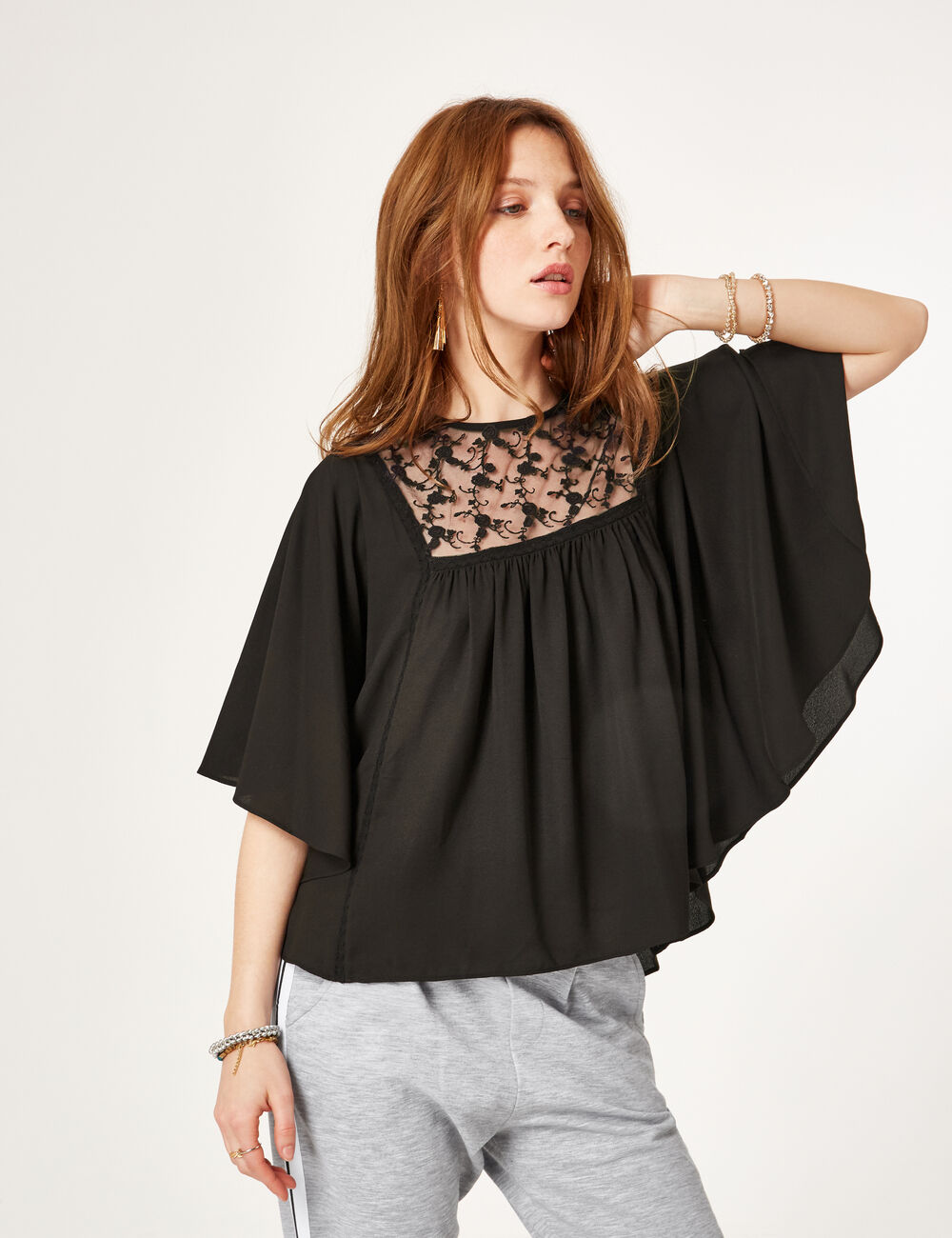 blouse avec dentelle noire femme jennyfer. Black Bedroom Furniture Sets. Home Design Ideas