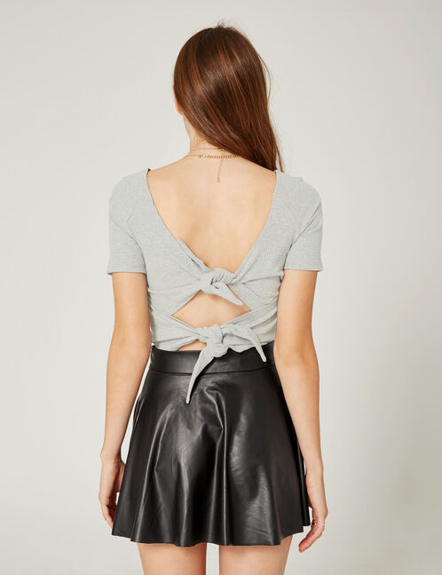 Grey marl open-back T-shirt with tie detail