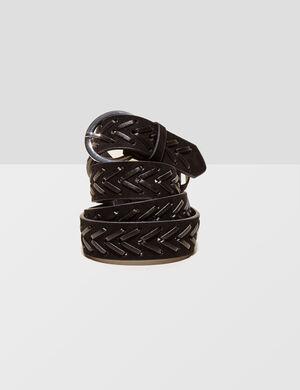Product Ceinture, noir, simili, effet laçage, boucle ronde, métallerie argentée.Marque Jennyfer Catégorie ceintures