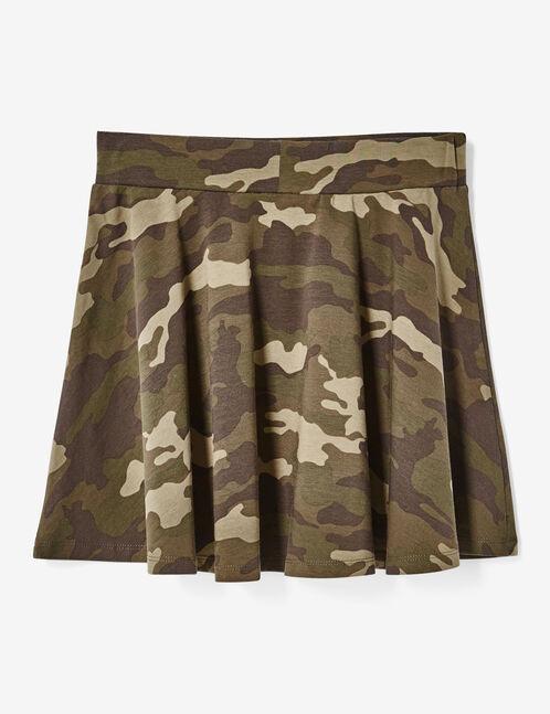 jupe courte patineuse camouflage kaki