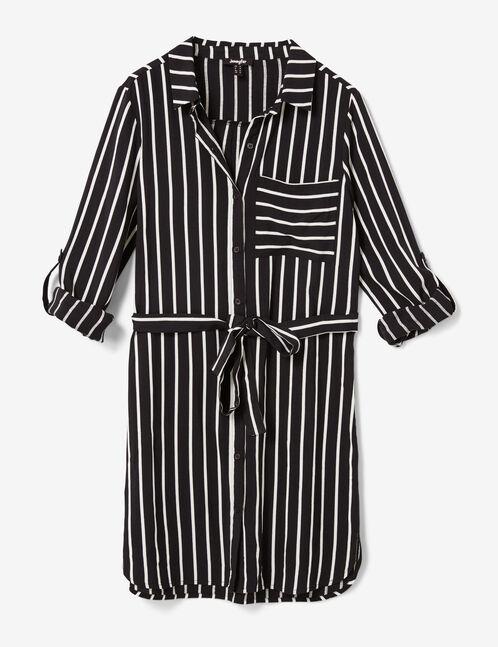 Black and cream striped shirt dress