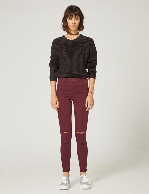 pantalon skinny taille prune