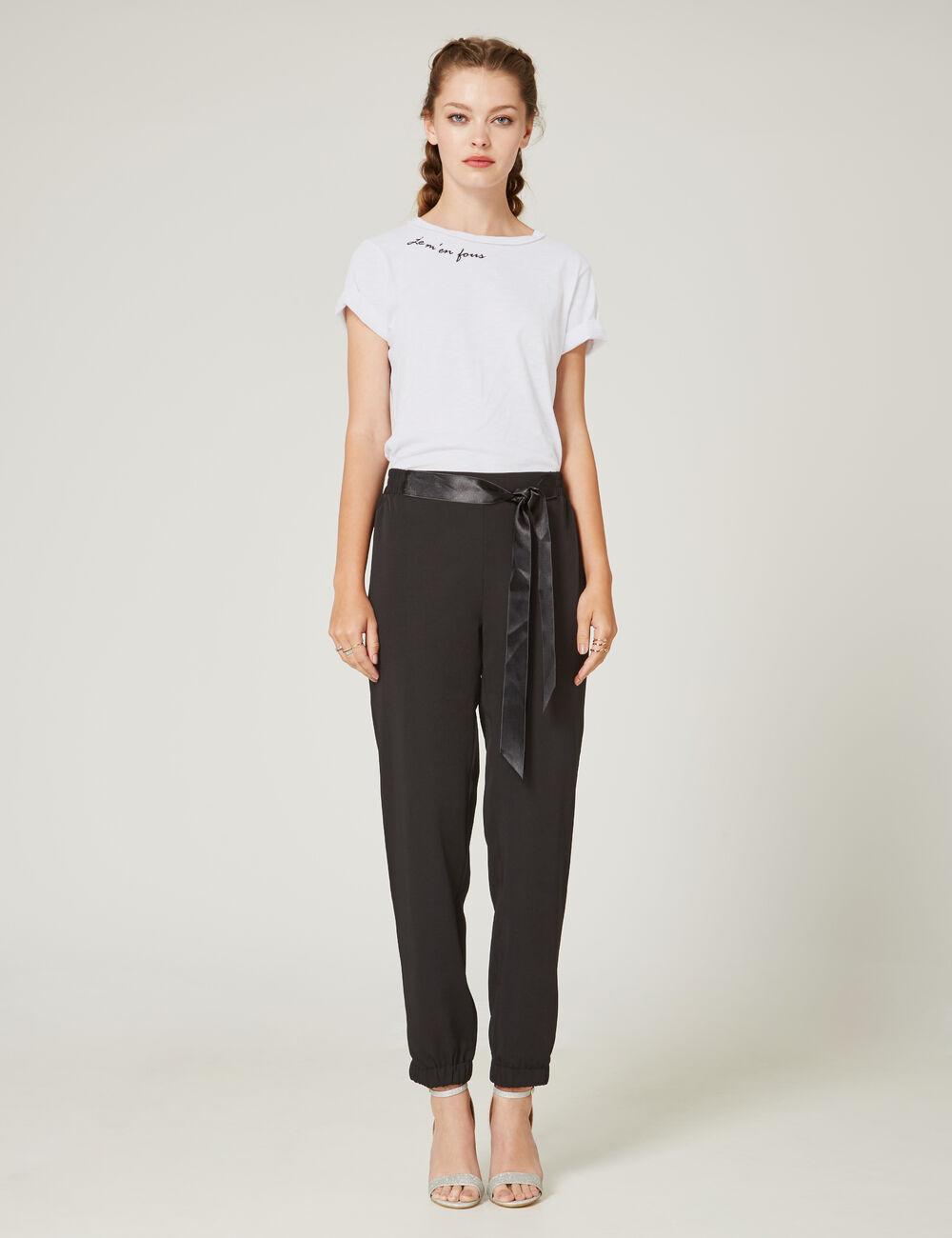 pantalon avec noeud en satin noir femme jennyfer. Black Bedroom Furniture Sets. Home Design Ideas