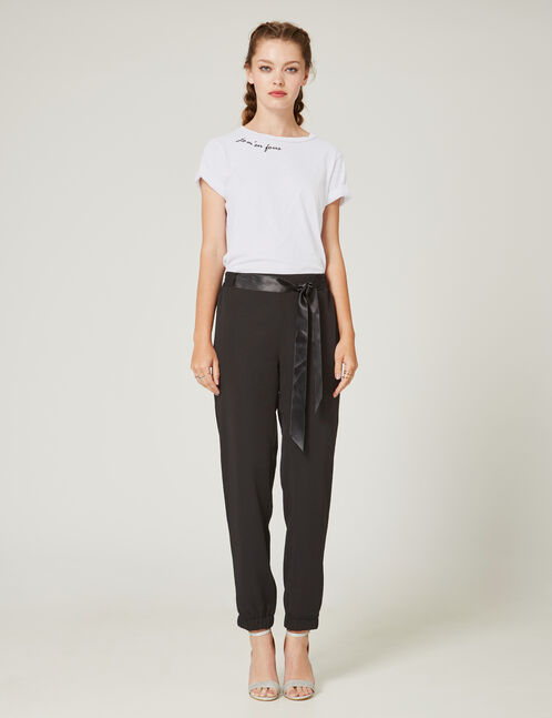 Black trousers with satin tie detail