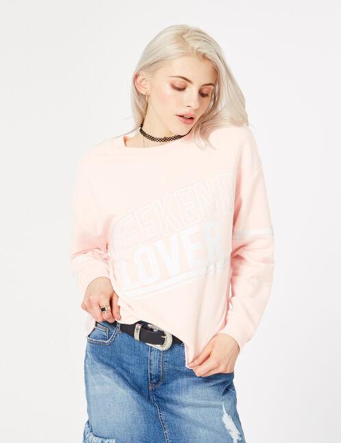 "Light pink ""weekend lover"" sweatshirt"