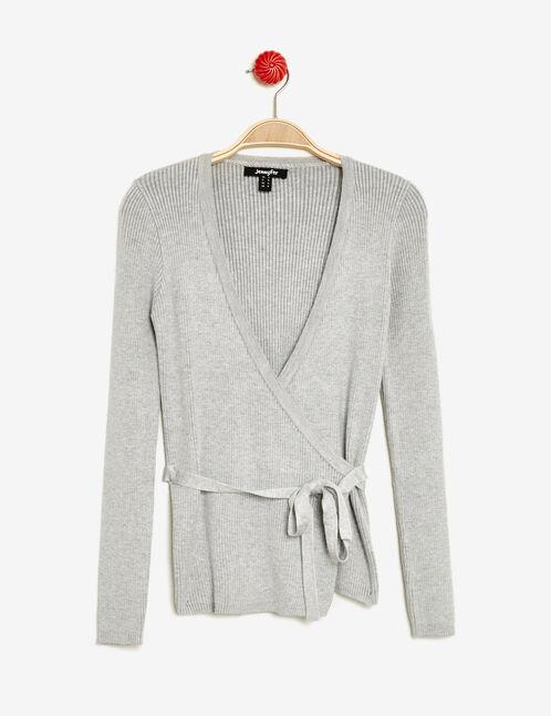 Grey crossover-effect jumper