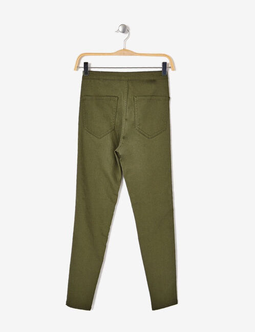 Khaki high-waisted skinny jeggings