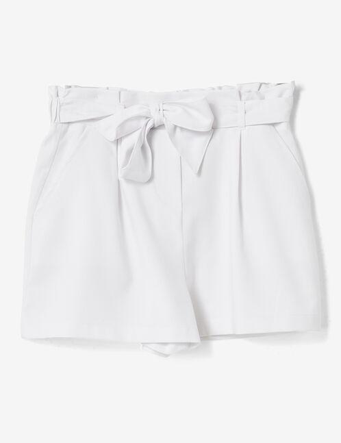 White draped shorts