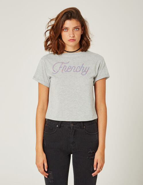 Grey marl crop top with beaded text design detail
